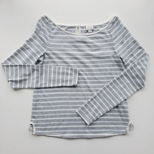 ANTHROPOLOGIE POSTMARK Gray & White Stripe Top M